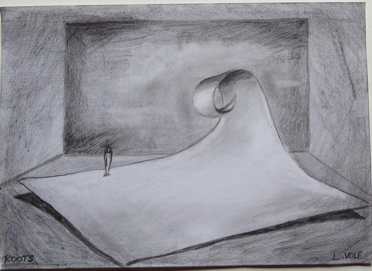 Autre proposition: La feuille vague, jouant sur sur des possibilités d'entrée en glissades, construite en dure avec des ombres renforcées aux sol en peinture pour accentuées l'idée de légèreté de la feuille de papier.