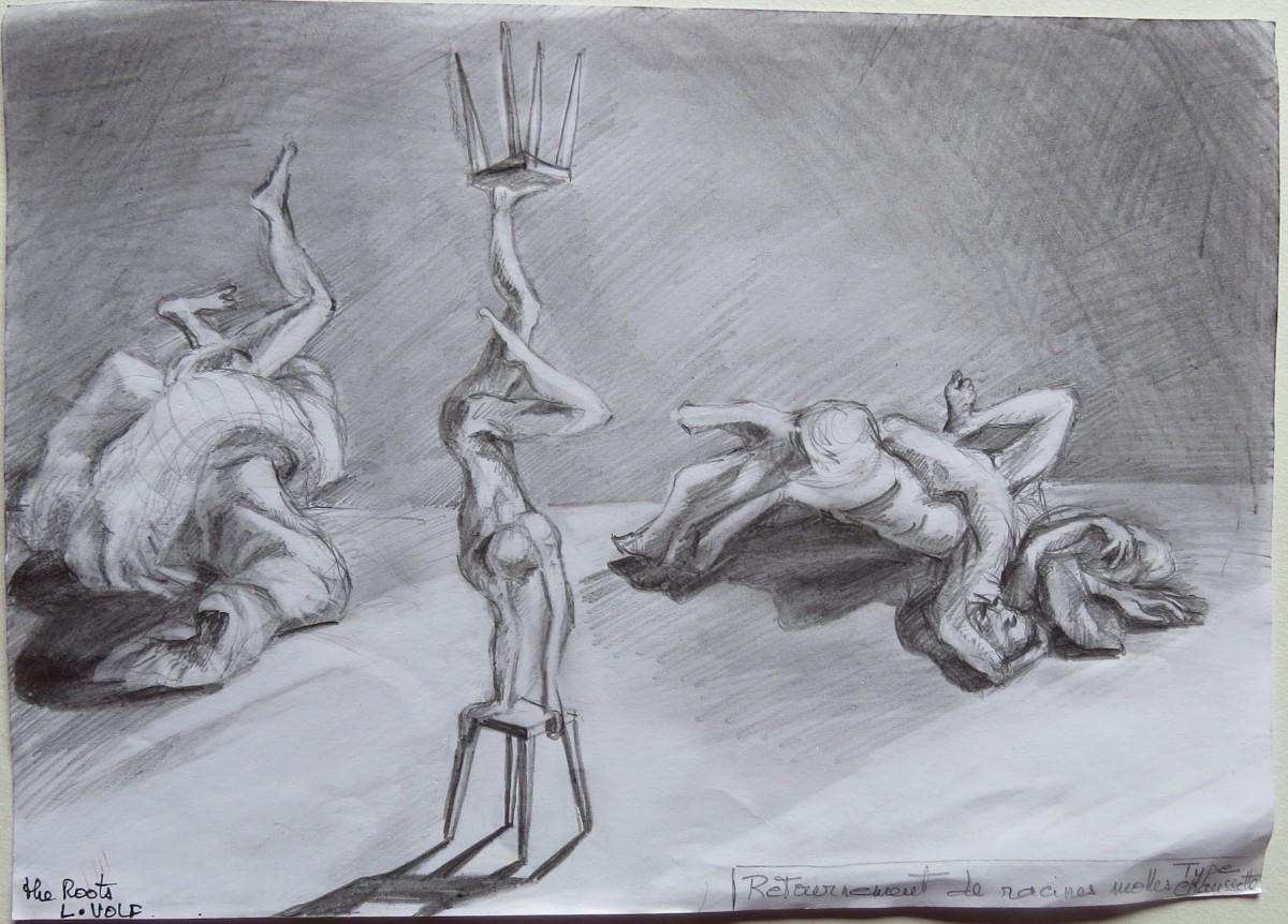 Autre proposition scénographiques pour THE ROOTS Les racines molles réversibles dans lesquelles les danseurs peuvent évoluer et dans les quelles ils peuvent danser en opérant des retournements.