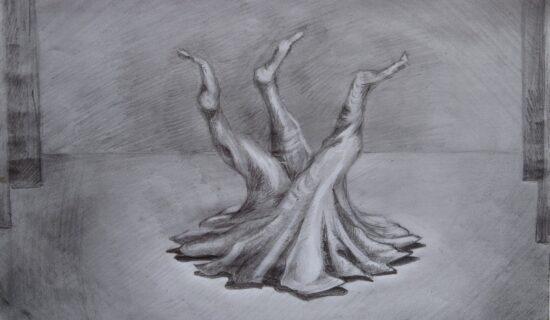 Quelques traces du cheminement de recherche pour The Roots. La racine du mouvement vient du sol. L'idée d'une souche au milieu du plateau, comme une inversion, met le souterrain à la surface. Cette souche aurait servi de support à danser et également de cachette pour les meubles du quotidien stockés dessous au début du spectacle. Réalisée avec une structure en dur au centre et des flans en toile fendues, elle aurait été praticable et escamotable.
